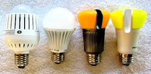 A selection of LED bulbs